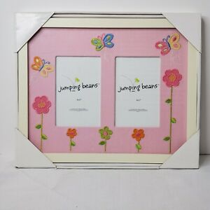 New Jumping Beans Double 4x6 Picture Frame White Frame Pink Embroidered Flowers