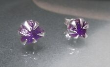 Sterling silver everyday rough amethyst 6x5mm approx, STUD earrings.