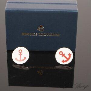 NIB #1 MENSWEAR LOT X2 Brooks Brothers Off Whitte Enamel Red Anchor Lapel Pin NR