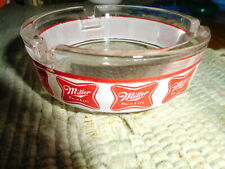 VINTAGE MILLER HIGH LIFE GLASS ASHTRAY BANDED ROUND  NEVER USED