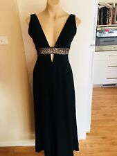 Ladies Black STUDIBAKER Dress Size 8 Long  Formal Party Cocktail Leopard Print