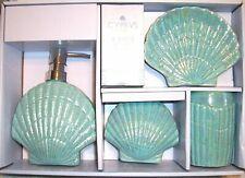 Set Of 4 Teal Seashell Nautical Coastal Beach Ceramic Bathroom Acc 00006000 essory Set Nwt