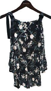 Topshop Playsuit Size AU6 XXS Black Floral Cold-Shoulder Very Good Condition