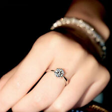 Size 8 White Gold Filled 10K Engagement Ring Claw Sapphire Wedding Gift  gf8