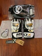 RDX F3 Handmade Leather Gel MMA Gloves Boxing Size L Black White