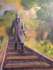 "DAVID ALDUS ORIGINAL OIL ""Ned Kelly  Last stand"" Australian outlaw OIL PAINTING"