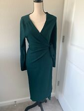 Vine & Love Women's Green Ribbed Long Sleeve Wrap Dress Size Medium NEW