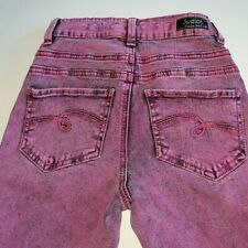 JUSTICE Purple High Waist Denim Jeggings Size 12S Slim 90s Look