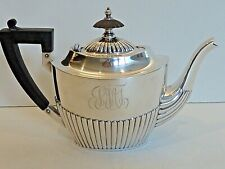 GORHAM STERLING SMALL TEAPOT DATED 1900, W/ WOOD HANDLE & FINIAL & HINGED LID