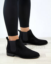 New Womens Ladies Chelsea Ankle Boots Pull On Casual Flat Comfy Shoes Sizes 3-8