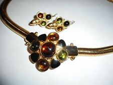 Monet Necklace Earrings Pretty Glass Cabs / Stones Enamel Matching Snake Chain