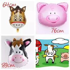JUMBO Animal Farm Barn Helium Foil Balloons Party Supplies Cow Pig Donkey Lolly