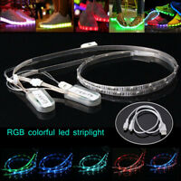 2X 60cm USB Charging Battery Powered RGB 24 LED Strip Light Shoes Clothes Party