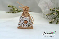 Hessian Mini Favor Bags 25 x Wedding Wooden Heart Cotton Lace Party Goody Fill