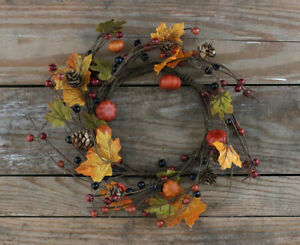 Candle Ring Fall Floral Decor Pumpkins Autumn Berries Leaves 6.5 inch inner diam
