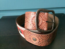 New! MONSOON Large Wide 100% Leather Ethnic Red Brown Belt (37-40inches)