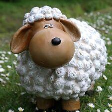 Schaf Lustig Weiß Braun Dekofigur Gartenfigur Dekoration Blumenbeet Tierfigur