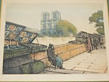 VICTOR VALERY (20th C., European); 'PARIS FLEA MARKET', COLOR TINTED ETCHING