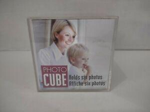 "New Acrylic Photocube 3.5"" x 3.5"" 6 Selfie Photos Retro Vintage Cubicle Desk"