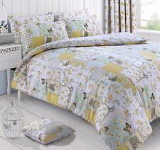 Floral Butterfly Boutique Lemon Patchwork Reversible Duvet Cover Set Double