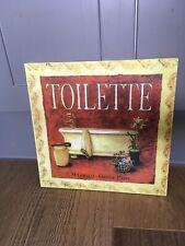 Wooden Toilette Bathroom Square Sign Vintage Look 27cm x 27cm