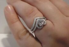HEART ENGAGEMENT RING W/ 2.50 CT LAB ACCENTS / SZ 5 - 9 / 925 STERLING SILVER