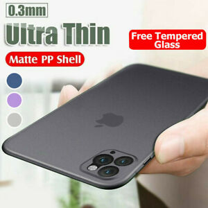 Ultra Thin Matte PP Case Cover Tempered Glass iPhone 13 12 11 Pro Max 7 8 SE XR