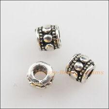 45Pcs Tibetan Silver Tone Tiny Round Tube Spacer Beads Charms 4mm