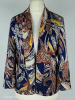 Monsoon Blue Brown Feather Print Smart Party Occasion Blazer Jacket Size 10 S