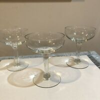 Vintage  Clear Glass Set of 3 Champagne Cocktail Glasses Mid Century Style