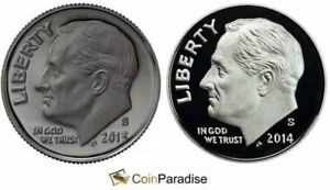 2013 and 2014 SILVER Proof Roosevelt Dimes from US Mint Silver sets CP1680
