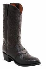 Lucchese M2901.J4 Silas Mens Black Cherry Lizard Leather Cowboy Boots 8 D