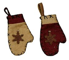 Primitive Mini Christmas Wool Mitten Ornaments (Box of 12)~Country~Tree/Wreath