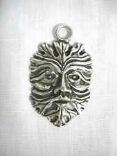 NEW DETAILED GREEN MAN NATURE FATHER EARTH CAST PEWTER PENDANT ADJ CORD NECKLACE