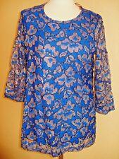 Spitzen-Shirt ,Pailletten,blau/gold v.Alfredo Pauly,Innenfutter,3/4 Arm,festlich