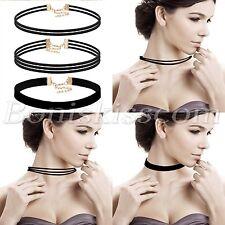 3pcs Women's Vintage Velvet Choker Short Necklace Multilayer Collar Adjustable