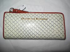 NEW Dooney & Bourke Fog White Navy Textured Leather Clutch Zip Long Slim Wallet