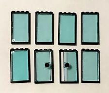 Lego Black Frame 1x4x6 W/ Trans-light Blue Door X2 And W/ Glass Window Walls X6
