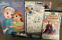 Disney Frozen (4) Item Lot: 3D Stickers, 150 Sticker Book, Coloring Book, Pen