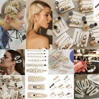 Women Vintage Hair Clip Hair Pin Bobby Comb Barrette Pearls Hairpin Headdress