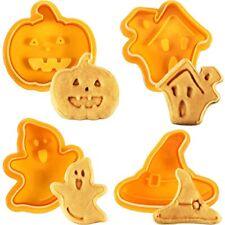 4 Pcs Halloween Plunger Cookie Cutter Ghost Pumpkin House Hat Fondant Icing