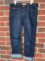 Banana Republic Size 6 / 28 Capri Jeans Cropped Stretch Dark Wash Blue Denim