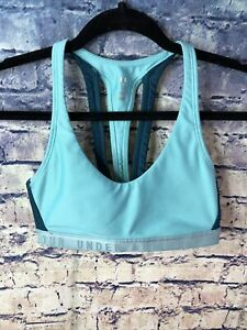 UNDER ARMOUR TEAL/BLUE RACERBACK PERFORMANCE SPORTS BRA SIZE S🔥RARE👀FREE SHIP