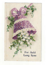 """Vintage Postcard """"For Auld Lang Syne"""" New Year Lily of the Valley Violets Bell"""