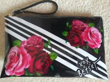New Betsey Johnson Black Floral Flowers Roses Cosmetic Case Bag Travel Wristlet