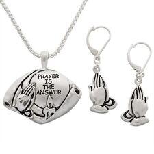 Prayer Hands Pendant with Earrings Set