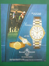 11/1980 PUB SWISS WATCH  MONTRE BAUME & MERCIER RIVIERA HORSE CHEVAL FRENCH AD