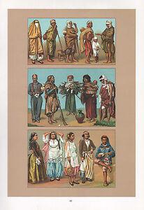 Vintage Mode Kostüm Aufdruck~Afrika~Arabische~ Moors Tunesische Arabian