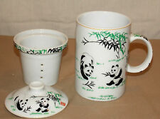 NEW ORIENTAL PANDA & BAMBOO PORCELAIN COFFEE TEA MUG CUP & INFUSER & LID 3pc