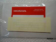 HONDA CAUTION PRESERVE NATURE DECAL Z50 C70 CT70 CL70 SL70 XL70 XR75 XR80 WHITE